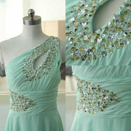 Sexy Mint One Shoulder Chiffon Party Dress Beading Sequins Bridesmaid dress Custom Tiffany Blue Wedding Party Gown Sexy Cocktail Gowns