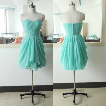 Turquoise Sweetheart Chiffon Bridesmaid dress A-line Bridesmaid dress Chiffon Bridesmaid dress Knee Length Bridesmaid Gowns Bridal Wedding Party Gown