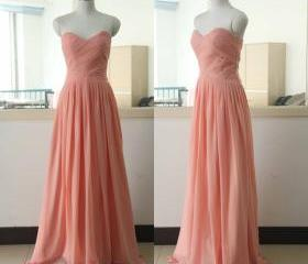 Peach Floor Length Chiffon Bridesmaid Dress Floor Length Bridesmaid gown Custom Sweetheart Bridesmaid dress Burgundy Bridesmaid dresses Prom Party Gown Wedding Party Gown Beach Wedding Bridesmaid dress
