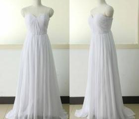 Sweetheart Beach Chiffon Bridal Dress A-line Wedding dress Chiffon Bridesmaid dress Beach Wedding Party Gown Custom US Size 0 2 4 6 8 10 12 14 16 18 ++