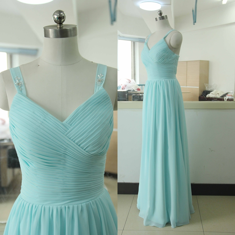 Spaghetti straps floor length chiffon bridesmaid dress for Blue beach wedding dresses