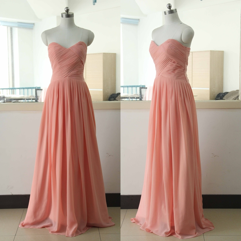 peach floor length chiffon bridesmaid dress floor length
