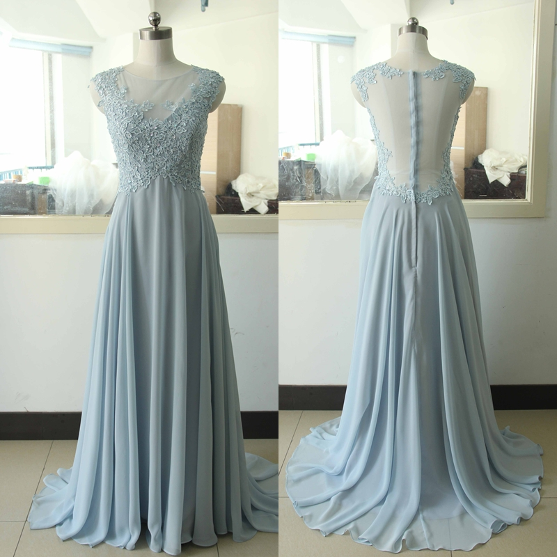 Baby blue chiffon lace party dress light blue beading for Light blue lace wedding dress
