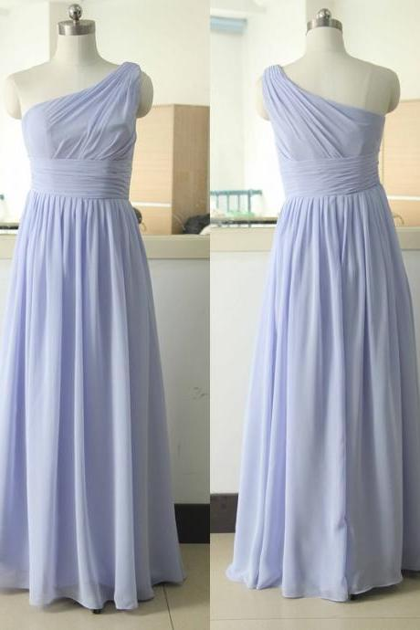 One Shoulder Floor-Length Chiffon Bridesmaid Dress Lavender Bridesmaid Gown Custom Chiffon Bridesmaid Dress Satin Bridesmaid Dresses Prom Party Gown Wedding Party Gown Beach Sweetheart Wedding Bridesmaid Dress