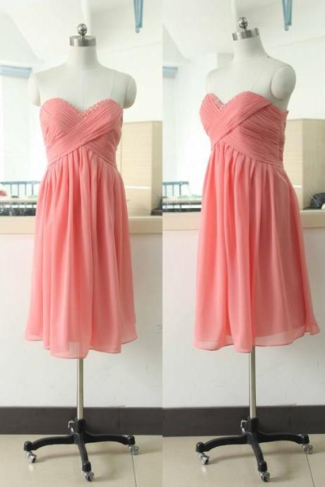 Beading Sequins Sweetheart-neck Bridesmaid dress A-line Coral Bridesmaid dress Chiffon Bridesmaid dress Knee Floor Bridesmaid Gowns Bridal Wedding Party Gown