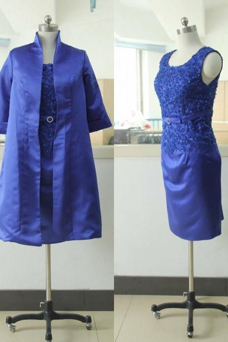 3/4 Sleeve Woman Wedding Party Gown Royal Blue Lace Mother of the Bridal Gowns Satin Woman Evening Gowns