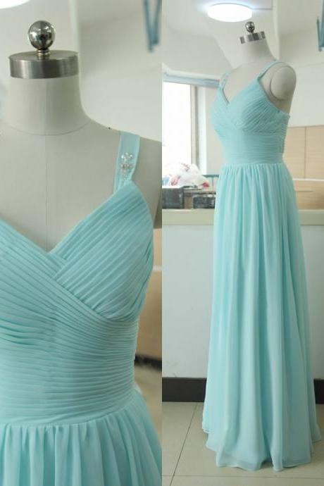 Spaghetti Straps Floor-length Chiffon Bridesmaid Dress Tiffany blue Bridesmaid gown Custom BurgundyChiffon Bridesmaid dress Satin Bridesmaid dresses Prom Party Gown Wedding Party Gown Beach Sweetheart Wedding Bridesmaid dress
