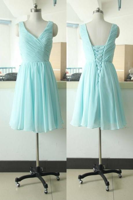Stock V-neck Tiffany Blue Bridesmaid Dress Short Bridesmaid gown Knee Length V-neck Bridesmaid dress Junior Bridesmaid dresses