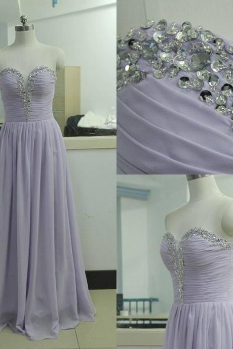 Beading Sequins Sweetheart Purple Chiffon Party Dress Sequins Bridesmaid Prom dress Custom A-line Wedding Party Gown Sexy Cocktail Gowns