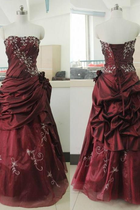 Stock Wedding dress Taffeta Wedding dresses Beading Sequins Burgundy A-line Wedding Gowns Strapless Wedding dresses