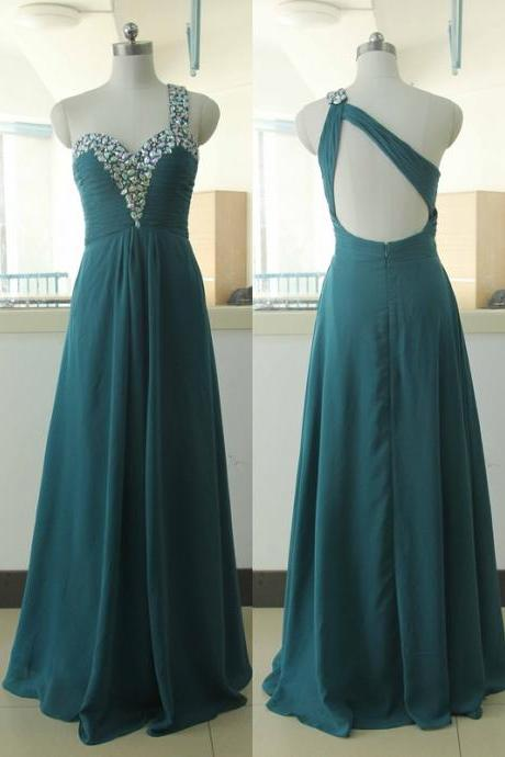Dark Green Crystal Sequins Chiffon Party Dress Sequins Bridesmaid Prom dress Custom A-line Wedding Party Gown Sexy One Shoulder Cocktail Backless Gowns