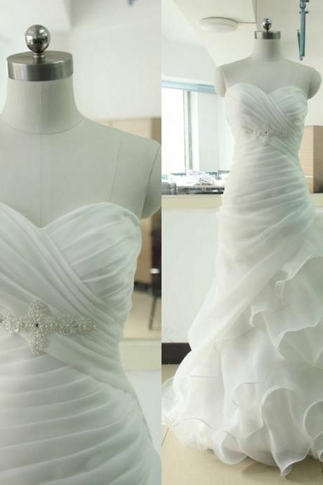 Sweetheart Organza Wedding dress Ivory Wedding dress Ivory Sleeveless Beading Wedding Gowns Custom US Size 0 2 4 6 8 10 12 14 16 18 ++