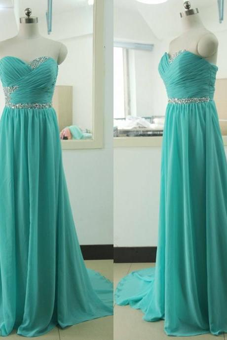 Turquoise Prom Dress Beading Crystal Backless Evening dress Custom Wedding Party Gown Sexy Chiffon Bridal Wedding Party Gown