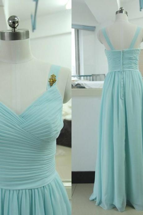 Spaghetti Straps Floor-length Chiffon Bridesmaid Dress Tiffany blue Bridesmaid gown Custom Gold Sequins Chiffon Bridesmaid dress Satin Bridesmaid dresses Prom Party Gown Wedding Party Gown Beach Sweetheart Wedding Bridesmaid dress