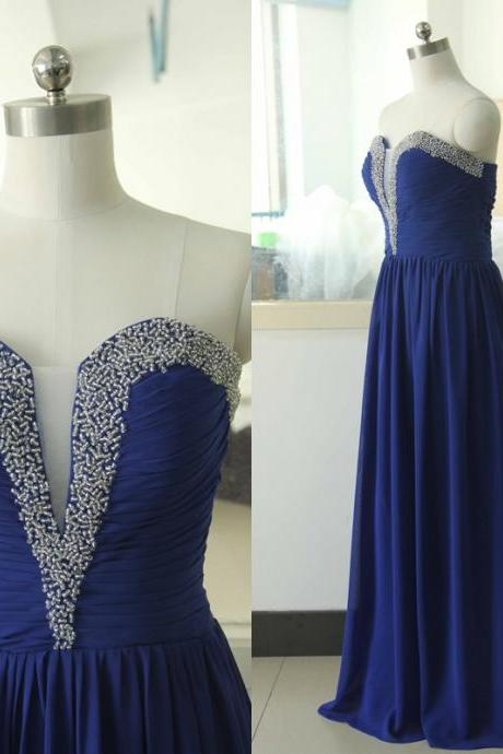 Royal Blue Beading Sweetheart Chiffon Party Dress Sequins Bridesmaid Prom dress Custom A-line Wedding Party Gown Sexy Cocktail Gowns
