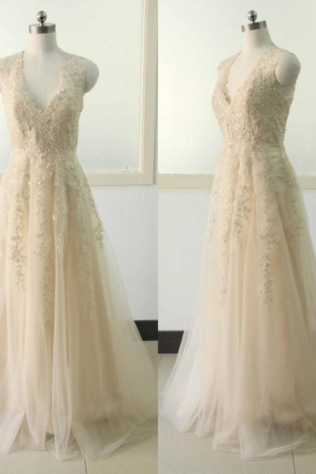 Champagne A-line Lace Applique Wedding dress V-neck Tulle Bridal Wedding dress Champagne Wedding Gowns Custom US Size 0 2 4 6 8 10 12 14 16 18 ++