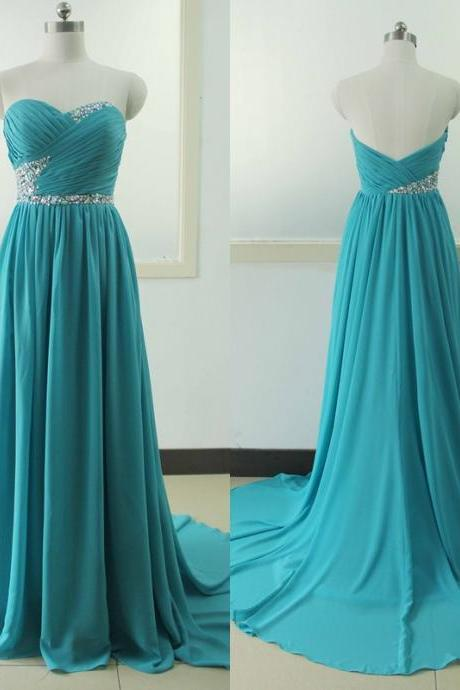 Long Turquoise Prom Dress Beading Crystal Backless Evening dress Custom Wedding Party Gown Sexy Sweetheart Chiffon Bridal Wedding Party Gown
