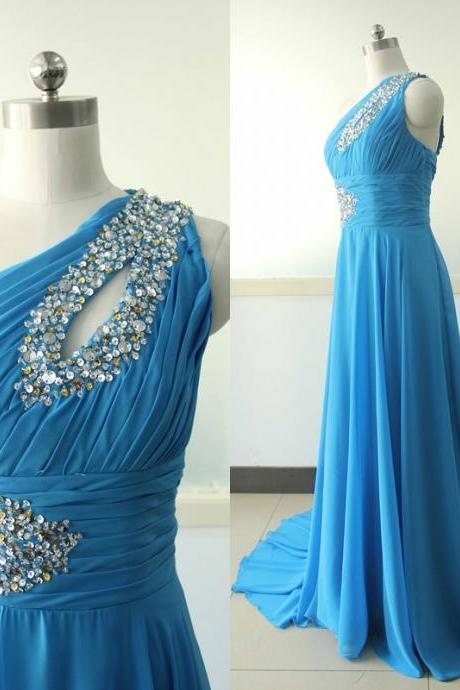 Bright Blue One Shoulder Chiffon Party Dress Beading Sequins Bridesmaid dress Custom Blue Wedding Party Bridesmaid Gown Sexy Cocktail Gowns