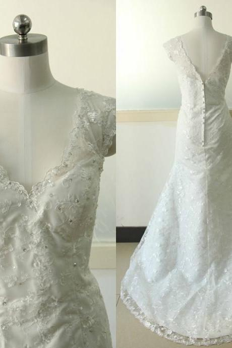Long Sleeve A-line Lace Wedding dress Ivory Wedding dress Lace Wedding Gowns Custom US Size 0 2 4 6 8 10 12 14 16 18 ++