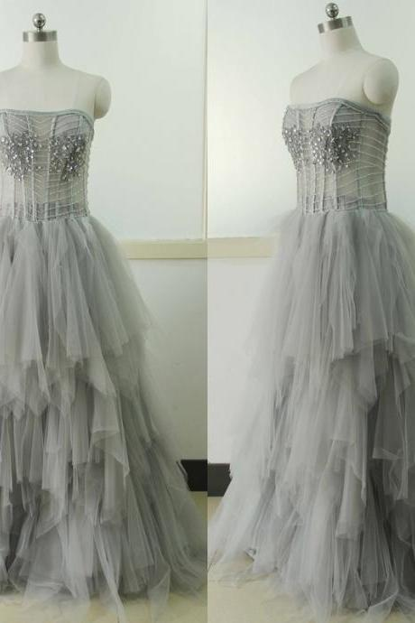 Gray Sweetheart-neck Lace Wedding dress A-line Tulle Wedding dress Sleeveless A-line Lace Wedding Gowns Custom US Size 0 2 4 6 8 10 12 14 16 18 ++