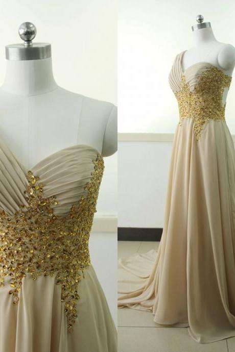 One Shoulder Beading Sequins Chiffon Party Dress Sequins Bridesmaid Prom dress Custom Brown A-line Wedding Party Gown Sexy Cocktail Lace Gowns
