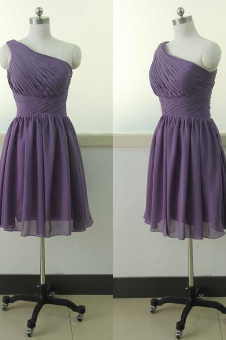 Purple One Shoulder Chiffon Bridesmaid Dress Short Bridesmaid gown Knee Length Bridesmaid dress A-line Green Bridesmaid dresses