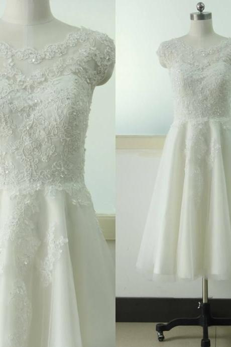 Cap Sleeve A-line Lace Wedding dress Knee-length Bridal Wedding dress Beading Sequins Ivory Wedding Gowns Custom US Size 0 2 4 6 8 10 12 14 16 18 ++