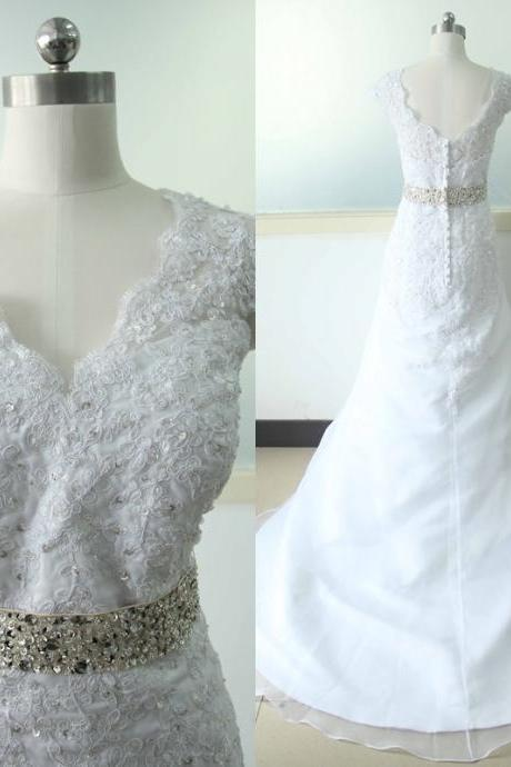 White Lace Mermaid Wedding dress Lace Bridal Wedding dress V-neck Bridal Wedding Gowns Custom US Size 0 2 4 6 8 10 12 14 16 18 ++