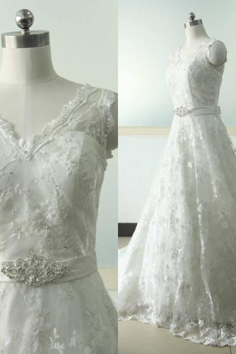 Sleeveless Lace A-line Wedding dress Lace Bridal Wedding dress V-neck Bridal Wedding Gowns Custom US Size 0 2 4 6 8 10 12 14 16 18 ++
