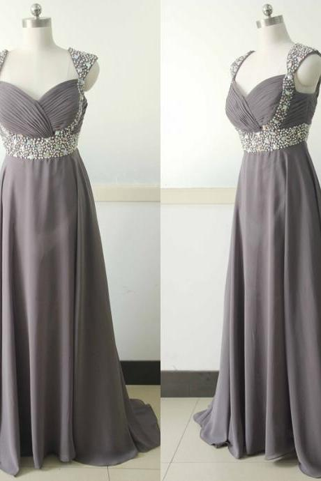 Gray Cap Sleeve Chiffon Party Dress Beading Sequins Bridesmaid dress Custom Peach Wedding Party Gown Sexy Cocktail Gowns