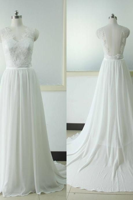Sleeveless A-line Wedding dress Lace Bridal Wedding dress Ivory V-neck Wedding Gowns Custom US Size 0 2 4 6 8 10 12 14 16 18 ++