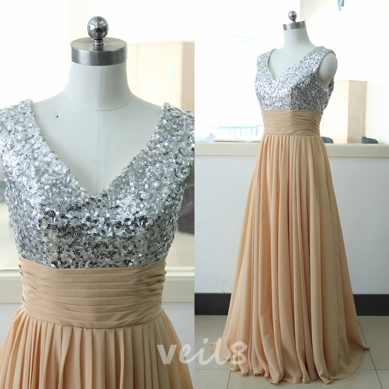 Brown chiffon party dress sequins bridesmaid dress custom for Brown lace wedding dress
