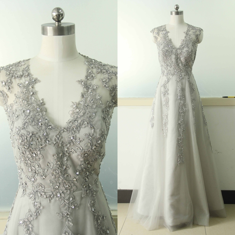 Gray a line lace applique wedding dress v neck bridal for Gray dresses for a wedding